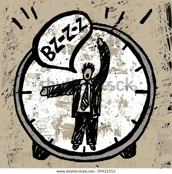 Time manager. The unrecognizable man in the suit is showing the time on the watch and crying. His arms is looking like arrows. Textured color illustration.