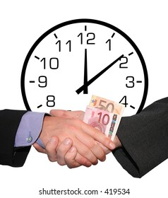 Time is money: a business handshake with money in front of an illustration of an analogue clock
