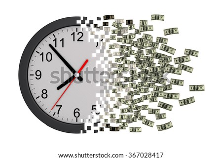 time money clock falling apart dollarsのイラスト素材 367028417