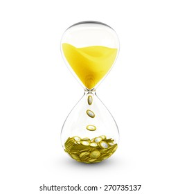 Time is money concept based on hourglass that transforms the golden sand to coins.