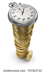 Time and money concept with stopwatch and coins - 3D illustration