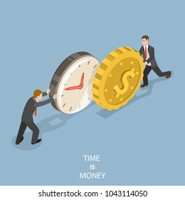 Time is money flat isometric concept. Two businessmen are pushing a watch and a coin towards each other.