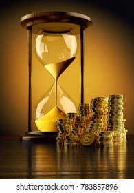 Time is money, make money and time management business concept, vintage hourglass with stack of gold coins on yellow background, 3d illustration