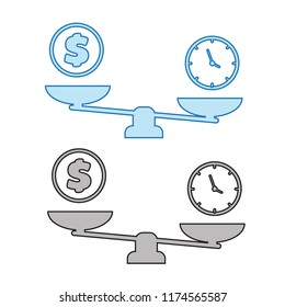 Time is money on scales icon. balance icons. Business success