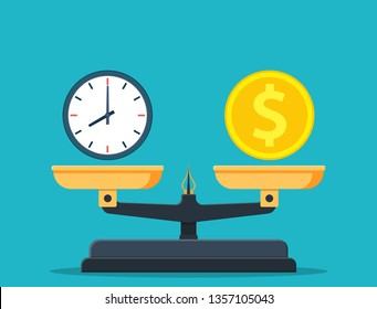 Time is money on scales icon. Money and time balance on scale. Weights with clock and money coin. illustration in flat style Raster version.