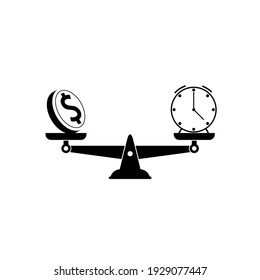 Time is money on scales icon isolated on white background