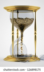 time is money. symbol of the transience of time. broken hourglass. lack of time.