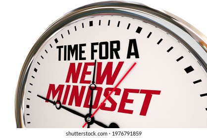 Time for a New Mindset Clock Change Perspective Vision Attitude 3d Illustration