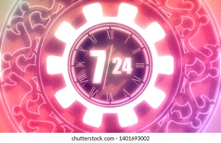 Time operation mode in gear decorated by circular ornament. For customer support and retail. Seven days twenty four hour. 3D rendering