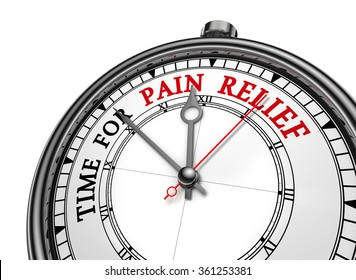 Time for pain relief motivation message on concept clock, isolated on white background