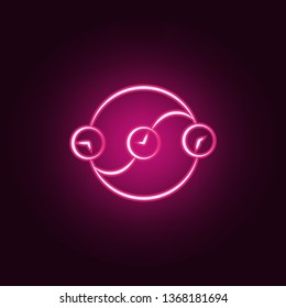 Time paradox neon icon. Elements of Mad science set. Simple icon for websites, web design, mobile app, info graphics