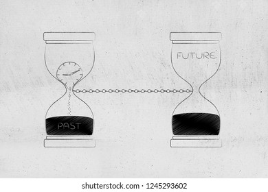 time passing by conceptual illustration: past and future linked with a chain with hourglass and clock melting away