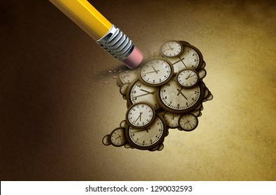 Time planning loss and losing memory concept as a group of clock objects shaped as a human head as a business punctuality and appointment stress metaphor or deadline pressure as a 3D illustration.