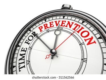 time for prevention concept clock, isolated on white background