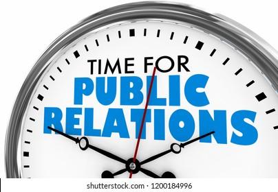 Time for Public Relations PR Clock 3d Illustration