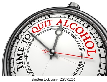 time to quit drinking alcohol concept clock on white background with red and black words