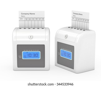 time recorder machine and time card with clipping path - Time Card Machine