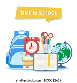 Time to school. Education and learning concept. School equipment. Open book with a bookmark, alarm clock, pile of books, backpack, supplies, stationery set, globe, scissors, pens, pencils, ruler