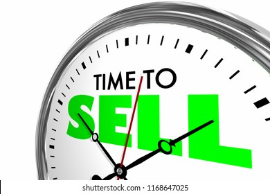 Time to Sell Sales Deal Clock Words 3d Illustration