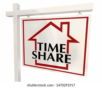 Time Share Vacation Home House for Sale Sign 3d Illustration