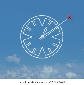 Time skill business schedule management skills as a jet airplane creating an air show smoke trail shaped as a clock as a schedule and date planning icon with 3D illustration elements.