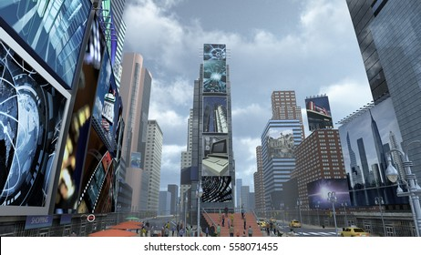 Time Square New York Manhattan. The images on the screens on the background are illustrations from our own database. 3D rendering