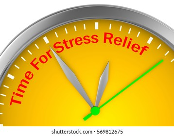 Time for stress relief motivation clock, 3d rendering