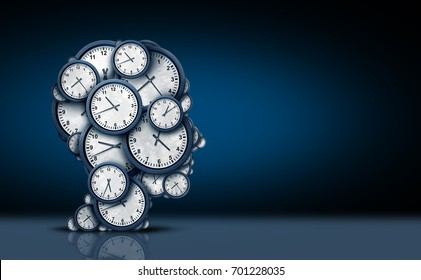 Time thinking concept as a group of clock objects shaped as a human head as a business punctuality and appointment stress metaphor or deadline pressure and overtime icon as a 3D illustration.