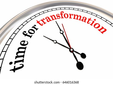 Time for Transformation Evolution Change Clock 3d Illustration