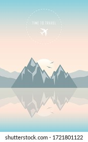 time to travel mountain by the sea landscape illustration