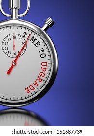 """Time To  Upgrade Concept. Stopwatch with """"Time To Upgrade"""" slogan on a blue background. 3D Render."""