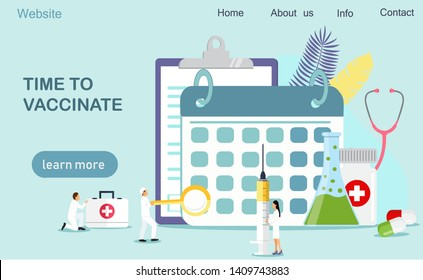 Time to vaccinate, illustration syringe with vaccine, bottle, vaccination calendar and doctors. Modern illustration concepts for website and mobile website development, apps is presented