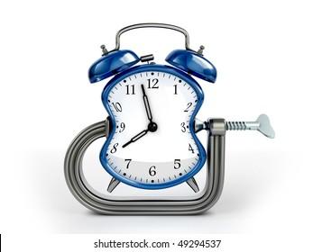 Time warp concept. C clamp squeeze blue alarm clock.
