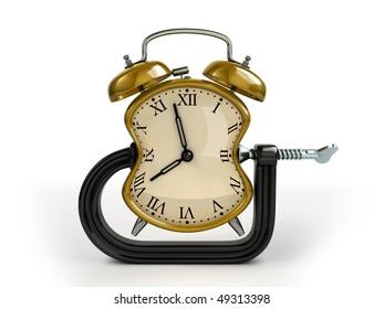 Time warp concept. C clamp squeeze alarm clock.