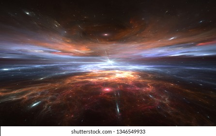 Time warp, traveling in space. Time dilation, illustration