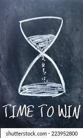 time to win text and hourglass sign on blackboard
