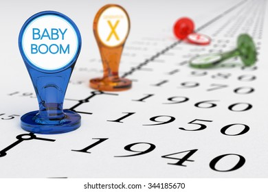 Timeline with blue sign where it is written the text baby boom, illustration of baby boomers generation born between the years 1945 and 1965.