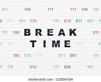 Timeline concept: Painted black text Break Time on White Brick wall background with Binary Code