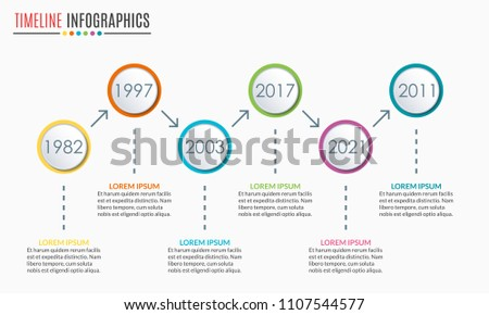 Timeline Infographics Template With 6 Circles And Arrow Steps Options Levels Or