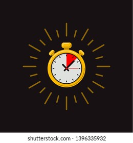 Timer icon on dark background. Fast time. Fast delivery, express and urgent shipping, services, stop watch speed concept, deadline, delay. chronometer sign. illustration