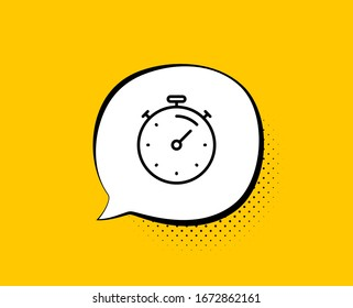 Timer line icon. Comic speech bubble. Time management sign. Stopwatch symbol. Yellow background with chat bubble. Timer icon. Colorful banner.