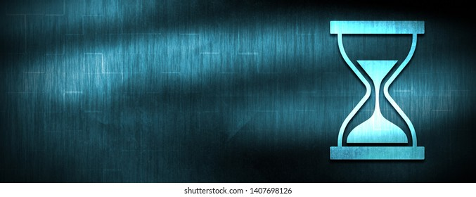 Timer sand hourglass icon isolated on abstract blue banner background design illustration