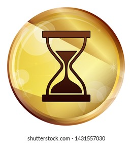 Timer sand hourglass icon isolated on Abstract Brown Round Button