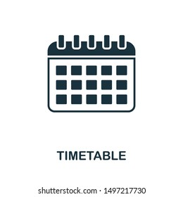 Timetable icon illustration. Creative sign from education icons collection. Filled flat Timetable icon for computer and mobile. Symbol, logo graphics.