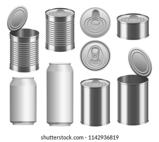 Tin can food package jar mockup set. Realistic illustration of 9 tin can food package jar mockups for web