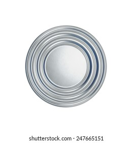 Tin can on white background, view from the top. 3d illustration.