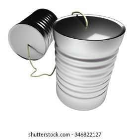Tin can phone isolated over white, 3d render