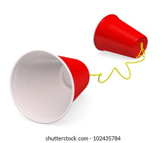 """""""Tin can telephone"""" made up of two red plastic cups on white background with clipping path. 3D render."""