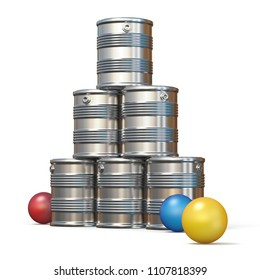 Tin cans and three balls 3D rendering illustration isolated on white background