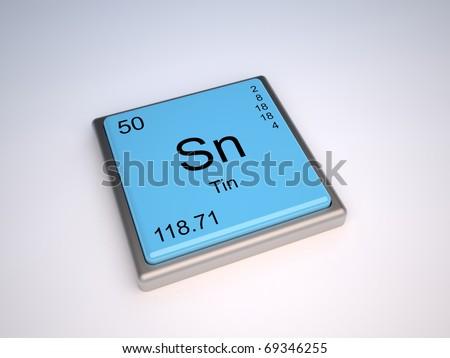 Tin Chemical Element Periodic Table Symbol Stock Illustration
